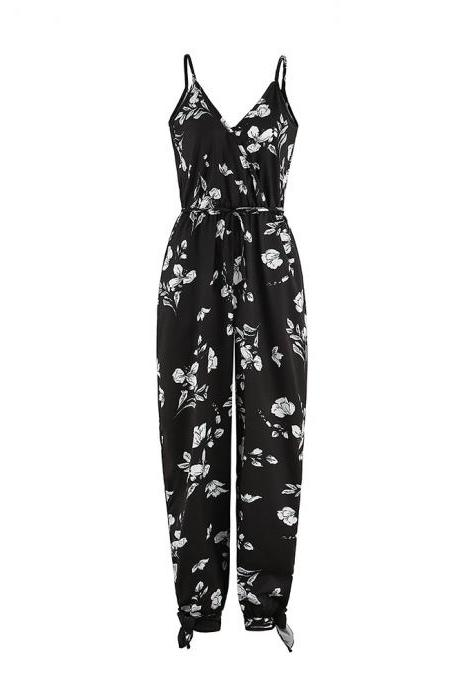 Women Jumpsuit V Neck Spaghetti Strap Sleeveless Casual Summer Long Pants Rompers floral black