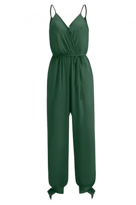 Women Jumpsuit V Neck Spaghetti Strap Sleeveless Casual Summer Long Pants Rompers green