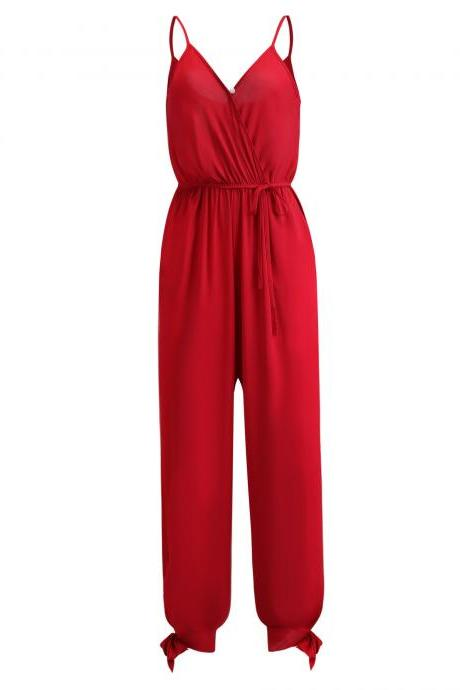 Women Jumpsuit V Neck Spaghetti Strap Sleeveless Casual Summer Long Pants Rompers red