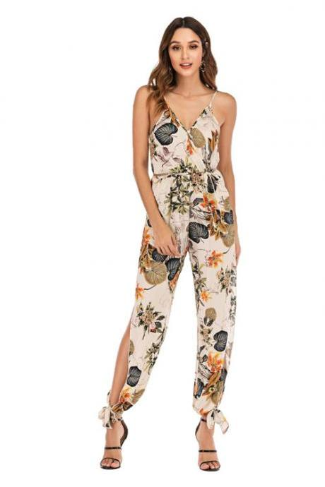 Women Jumpsuit V Neck Spaghetti Strap Sleeveless Casual Summer Long Pants Rompers floral white