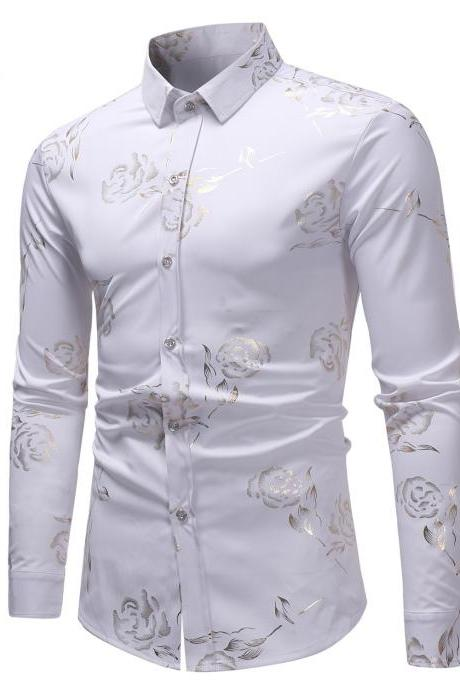 Men Rose Printed Shirt Single Breasted Long Sleeve Casual Slim Fit Male Top Shirt white