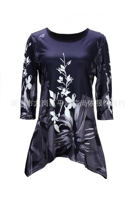 Women Floral Printed T Shirt Half Sleeve O-Neck Casual Plus Size Asymmetrical Tops gray