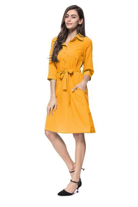 Women Shirt Dress Turn Down Collar 3/4 Sleeve Belted Casual Work Office Midi Dress yellow
