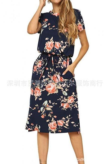Women Floral Printed Dress Short Sleeve Drawstring Waist Casual Boho Summer Beach Midi Dress navy blue