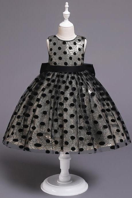 Polka Dot Flower Girl Dress Sleeveless Formal Birthday Party Gown Kids Children Clothes champagne