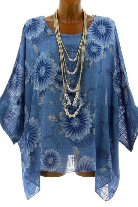 Women Floral Printed T Shirt Summer 3/4 Sleeve Casual Loose Plus Size Asymmetrical Tops blue