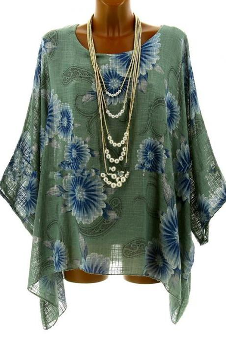 Women Floral Printed T Shirt Summer 3/4 Sleeve Casual Loose Plus Size Asymmetrical Tops green
