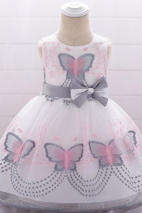 Butterfly Embroidery Flower Girl Dress Newborn Baby Baptism Party Birthday Gown Kids Children Clothes gray