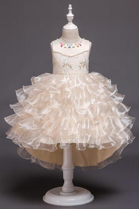High Low Flower Girl Dress Layered Trailing Tutu Formal Birthday Party Ball Gown Kids Children Clothes champagne