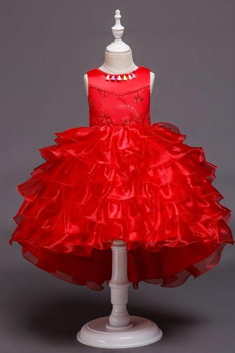 High Low Flower Girl Dress Layered Trailing Tutu Formal Birthday Party Ball Gown Kids Children Clothes red