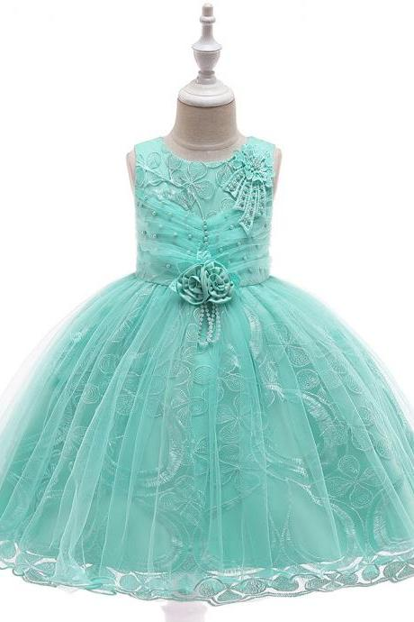 Lace Flower Girl Dress Princess Tutu Formal Birthday Party Ball Gown Kids Children Clothes aqua