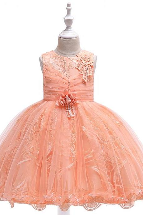 Lace Flower Girl Dress Princess Tutu Formal Birthday Party Ball Gown Kids Children Clothes orange