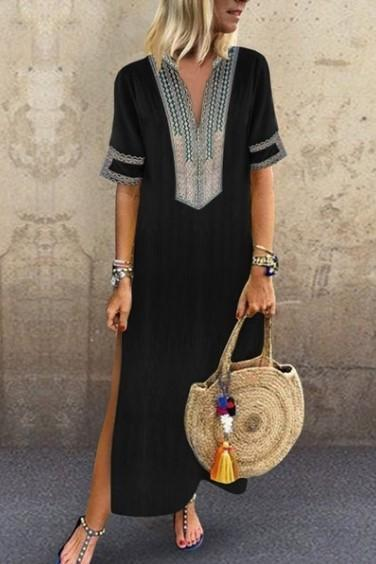 Women Maxi Dress Casual V Neck Short Sleeve Split Summer Boho Beach Holiday Long Dress black