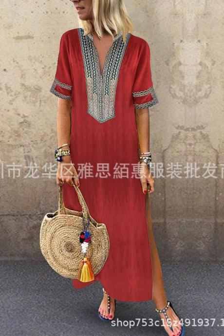 Women Maxi Dress Casual V Neck Short Sleeve Split Summer Boho Beach Holiday Long Dress red