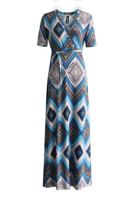 Women Maxi Dress V Neck Short Sleeve Belted Printed Plus Size A Line Long Party Dress blue