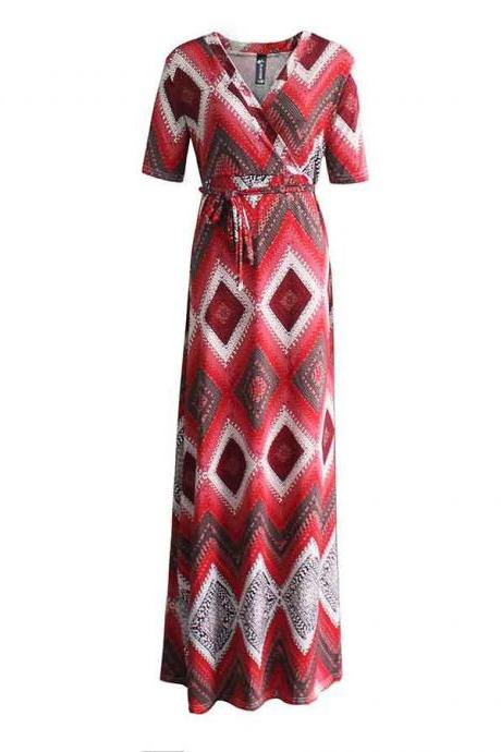 Women Maxi Dress V Neck Short Sleeve Belted Printed Plus Size A Line Long Party Dress red