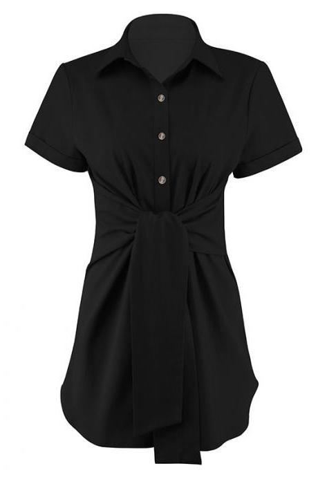Women Blouse Turn-Down Collar Short Sleeve Casual Belted Slim Long Tops Shirt black