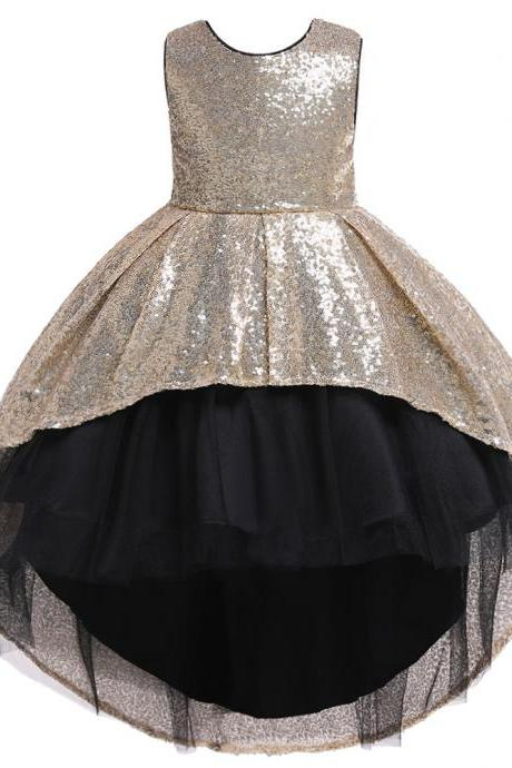 Sequined Flower Girl Dress High Low Formal Birthday Perform Party Tutu Gown Kids Children Clothes champagne