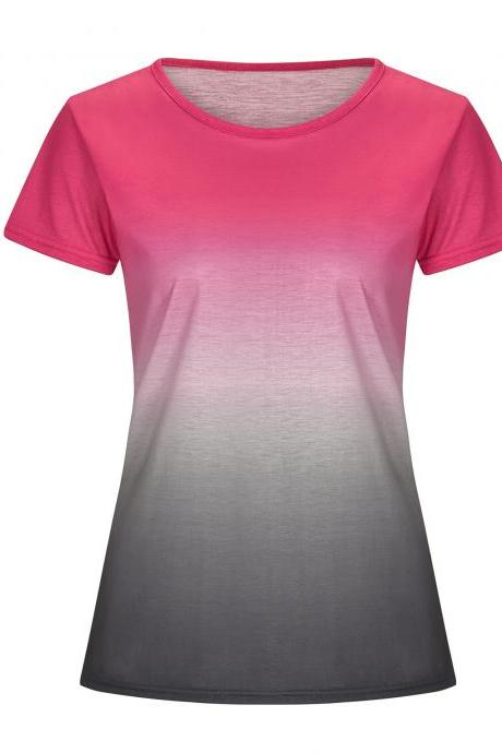Women Rainbow Gradient Color T Shirt Summer Short Sleeve Basic Casual Loose Plus Size Tee Tops hot pink