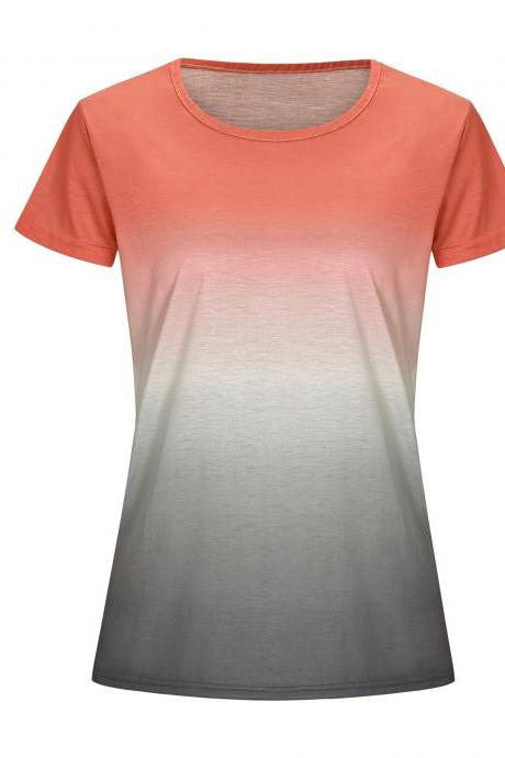 Women Rainbow Gradient Color T Shirt Summer Short Sleeve Basic Casual Loose Plus Size Tee Tops orange