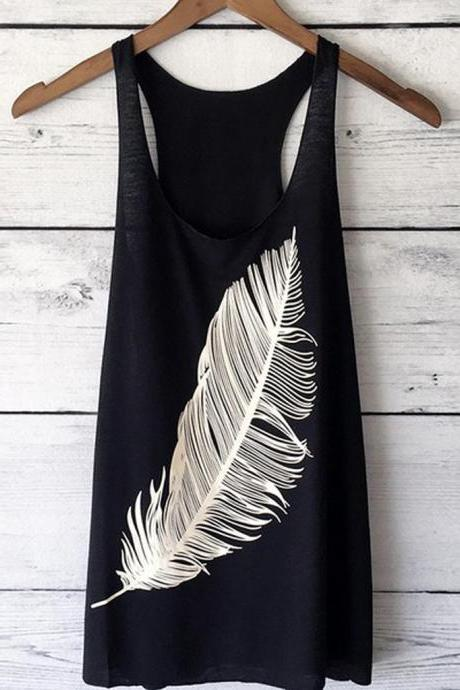 Women Tank Top Feather Printed Summer Casual Loose O-Neck Sleeveless T Shirt black