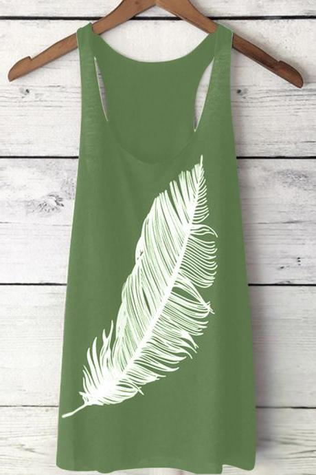 Women Tank Top Feather Printed Summer Casual Loose O-Neck Sleeveless T Shirt green