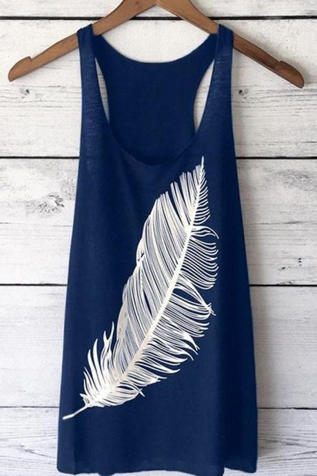 Women Tank Top Feather Printed Summer Casual Loose O-Neck Sleeveless T Shirt navy blue