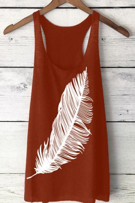 Women Tank Top Feather Printed Summer Casual Loose O-Neck Sleeveless T Shirt orange red