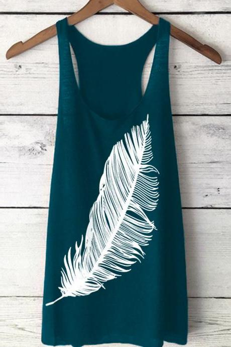Women Tank Top Feather Printed Summer Casual Loose O-Neck Sleeveless T Shirt peacock blue