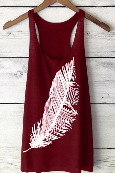 Women Tank Top Feather Printed Summer Casual Loose O-Neck Sleeveless T Shirt wine red