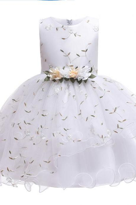 Floral Flower Girl Dress Sleeveless Wedding Formal Birthday Party Tutu Gown Kids Children Clothes white