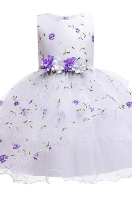 Floral Flower Girl Dress Sleeveless Wedding Formal Birthday Party Tutu Gown Kids Children Clothes lilac