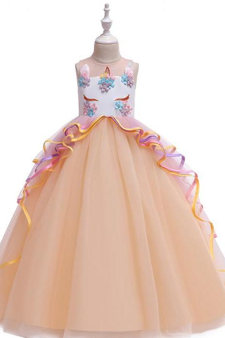 Unicorn Flower Girl Dress Rainbow Teens Long Birthday Formal Tutu Party Gown Children Kids Clothes champagne