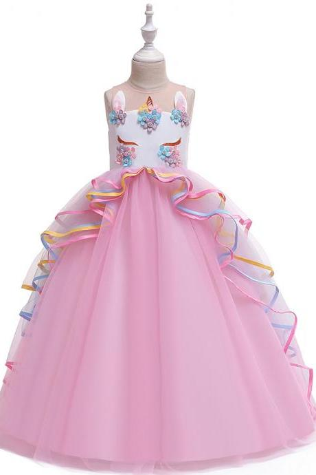 Unicorn Flower Girl Dress Rainbow Teens Long Birthday Formal Tutu Party Gown Children Kids Clothes pink