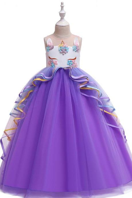 Unicorn Flower Girl Dress Rainbow Teens Long Birthday Formal Tutu Party Gown Children Kids Clothes purple