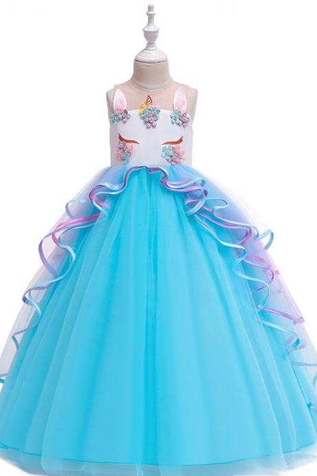 Unicorn Flower Girl Dress Rainbow Teens Long Birthday Formal Tutu Party Gown Children Kids Clothes sky blue