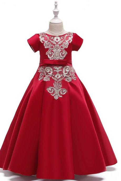 Long Satin Flower Girl Dress Short Sleeve Teens Birthday Formal Tutu Party Gown Children Kids Clothes red