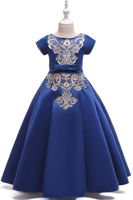 Long Satin Flower Girl Dress Short Sleeve Teens Birthday Formal Tutu Party Gown Children Kids Clothes navy blue