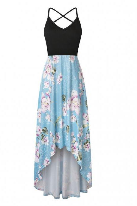 Women Floral Printed Maxi Dress V Neck Sleeveless Casual Summer Beach Boho Asymmetrical Dress 10#