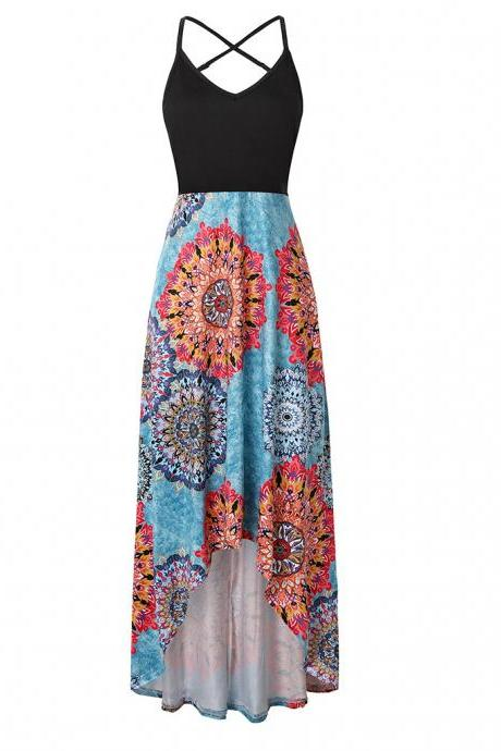 Women Floral Printed Maxi Dress V Neck Sleeveless Casual Summer Beach Boho Asymmetrical Dress 11#
