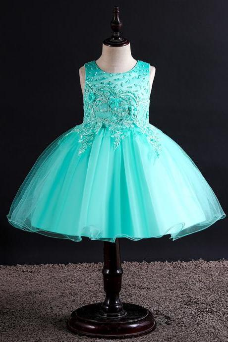 Lace Flower Girl Dress Princess Wedding Birthday Formal Tutu Party Gown Children Kids Clothes aqua
