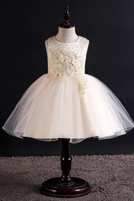 Lace Flower Girl Dress Princess Wedding Birthday Formal Tutu Party Gown Children Kids Clothes champagne