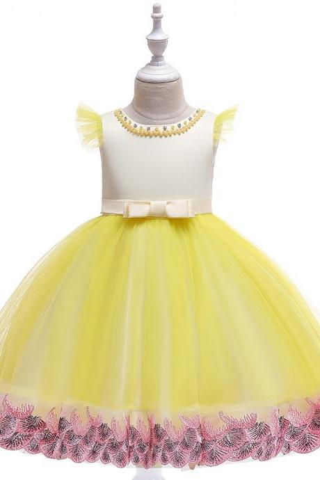 Embroidery Flower Girl Dress Princess Birthday Formal Tutu Party Gown Children Kids Clothes yellow