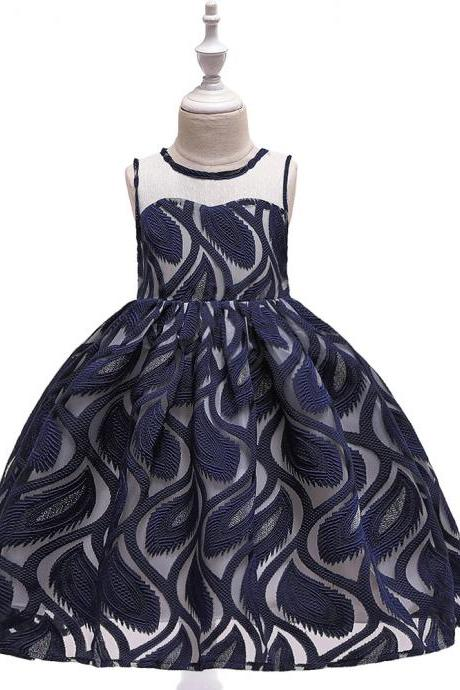Feather Lace Flower Girl Dress Princess Teens Formal Birthday Party Tutu Gown Kids Children Clothes navy blue