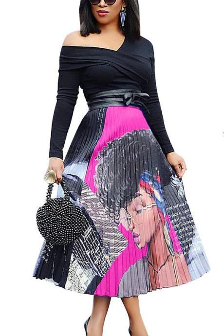 Women Pleated Skirt High Waist Vintage Cartoon Printed Mid-Calf Casual Midi Skirt 7#