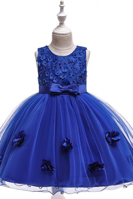Beaded Lace Flower Girl Dress Princess Wedding Formal Birthday Party Tutu Gown Kids Children Clothes royal blue