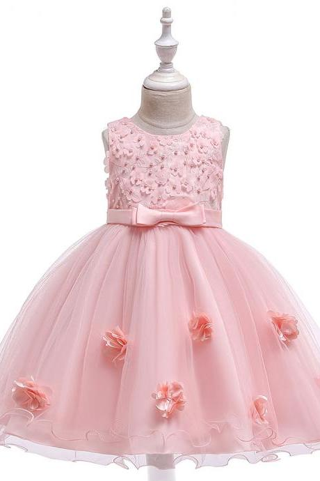 Beaded Lace Flower Girl Dress Princess Wedding Formal Birthday Party Tutu Gown Kids Children Clothes pink