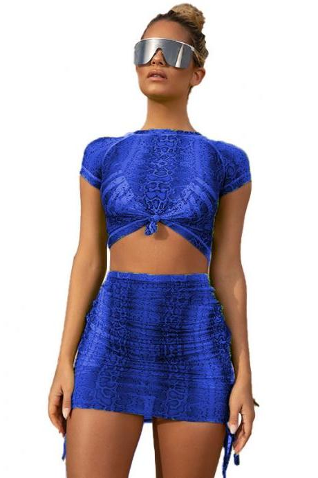 Women Two Piece Set Snakeskin Print Short Sleeve Crop Top+Bodycon Mini Skirt Summer Club Party Outfit blue