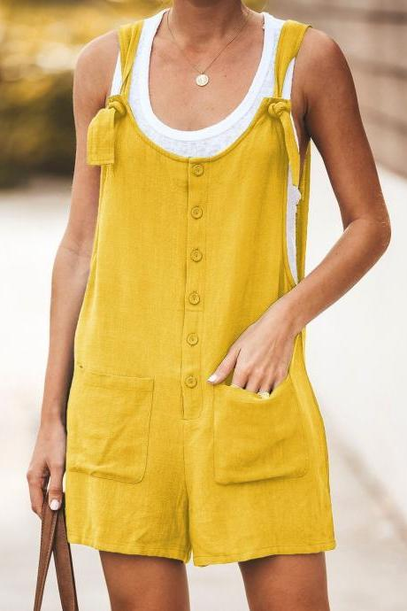 Women Short Jumpsuit Summer Button Pocket Casual Loose Cotton Linen Playsuit Overalls yellow