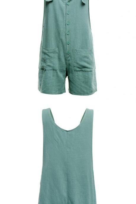 Women Short Jumpsuit Summer Button Pocket Casual Loose Cotton Linen Playsuit Overalls turquoise